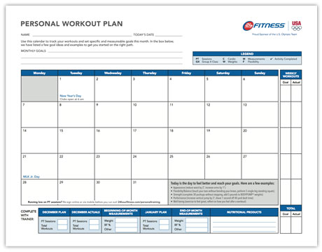 Monthly Workout Plan   Hour Fitness
